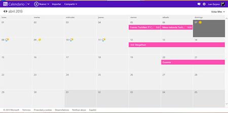 Calendario Microsoft Live, vista principal