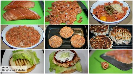 hamburguesa de salmón paso a paso