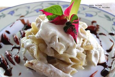 Receta: Pasta penne a los 4 quesos con toque de vino blanco