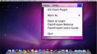 FlashFrozen fuerza la salida de Flash desde la barra de menús