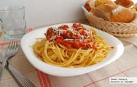 Spaghetti con albóndigas de pollo. Receta