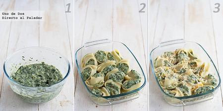 Receta de galets o lumaconi rellenos de espinacas y queso paso a paso