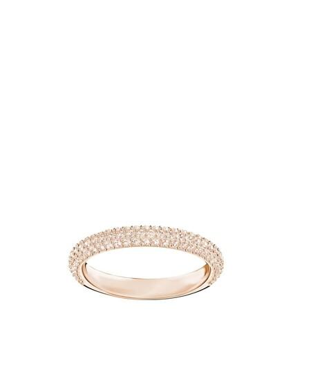 Anillo Swarovski Stone Banado En Oro Rosa Con Piedras Rosa