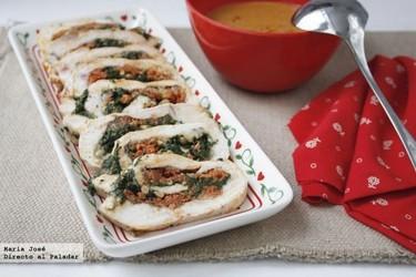 Pechugas de pollo rellenas de sobrasada, queso de Mahón y espinacas. Receta de Thermomix