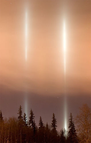 Light Pillars Above The University Of Alaska At Fairbanks Joseph N Hall