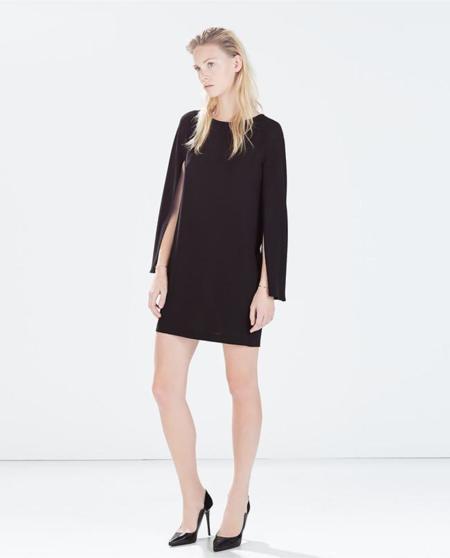 Clon Valentino Vestido Negro Capa Zara