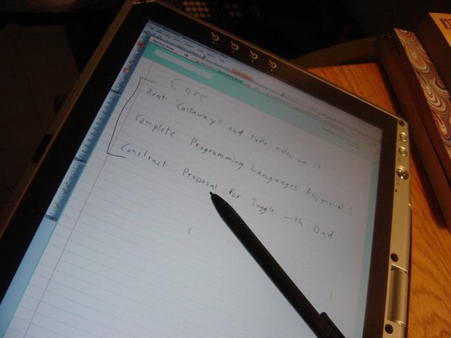 Tableta ejecutando OneNote 2003