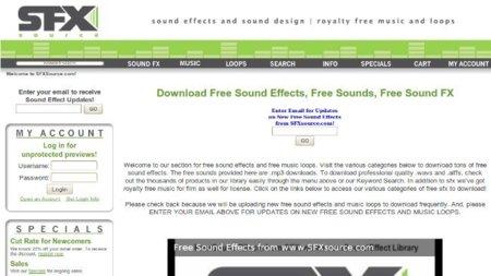 SFX source, una pequeña muestra gratuita de un sitio de pago