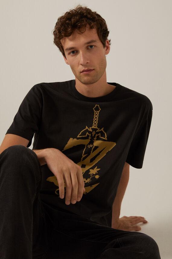 Camiseta negra en algodón con estampado de Zelda