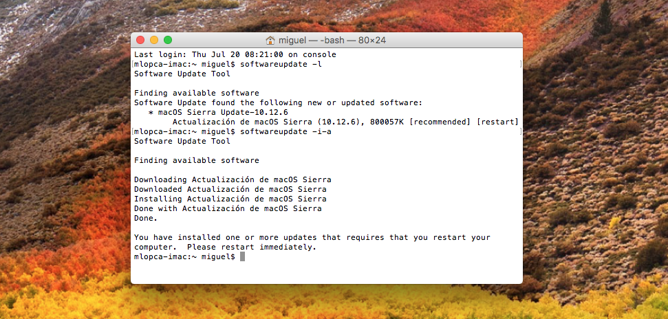 Mac Terminal Actualizacion Terminada