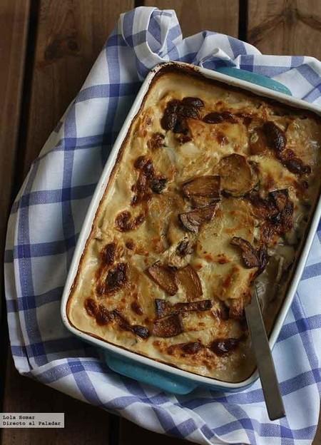 Cómo hacer un delicioso gratinado de patatas, setas y bacon