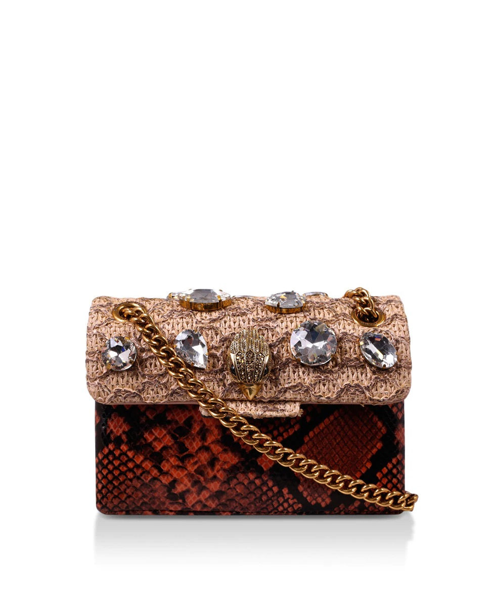 Bolso joya con solapa de rafia y cristales y estampado de serpiente de Kurt Geiger