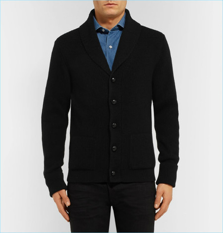 Tom Ford Icon Shawl Collar Ribbed Cashmere Cardigan
