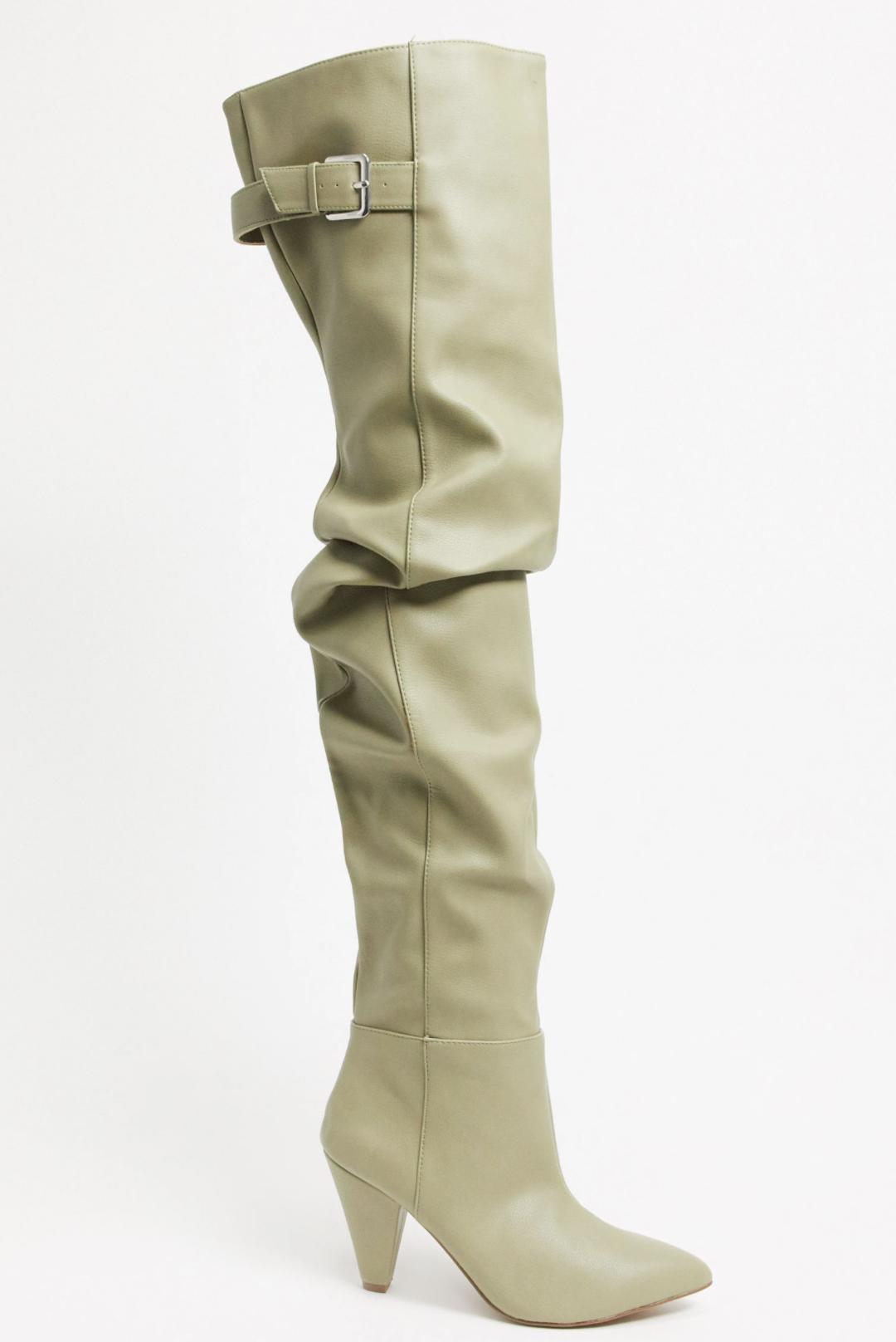 Botas altas hasta el muslo anchas color topo Kayla de ASOS DESIGN