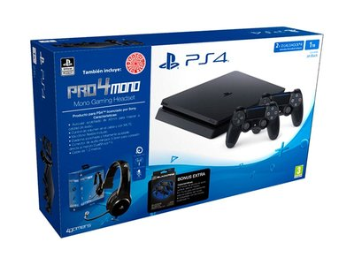 Pack PS4 Slim de 1 Tb, con 2 Dual Shock y Headset mono, por 349 euros en Mediamarkt