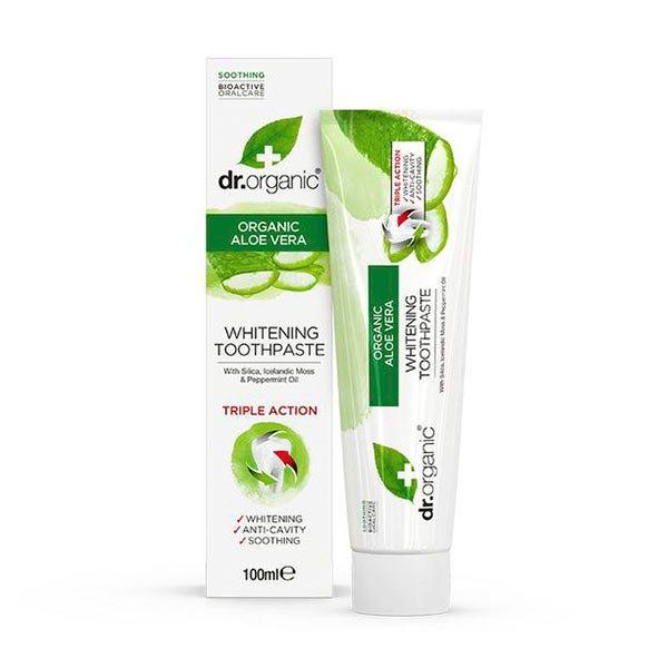 Pasta de dientes blanqueante con aloe vera orgánico de Dr.Organic