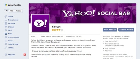 yahoo social bar app facebook