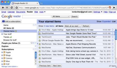 Nuevas funciones en Google Reader: Recomendaciones, feeds similares y posibles actualizaciones en tiempo real