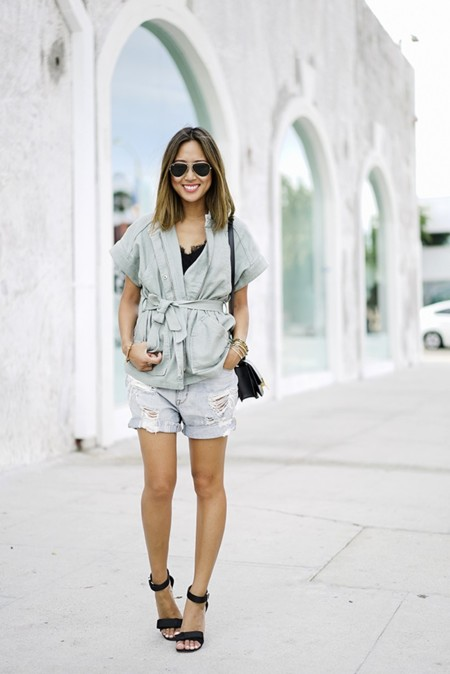 Aimee Song Of Style Madewell Belted Jacket Ripped Denim Shorts Ray Ban Aviators Celine High Heel Sandals